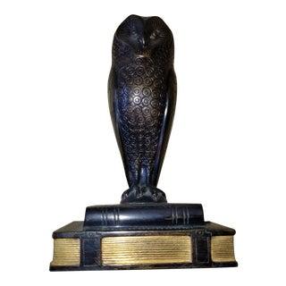 Early 20th Century Antique Hans Muller Austrian Bronze Owl Sculpture For Sale