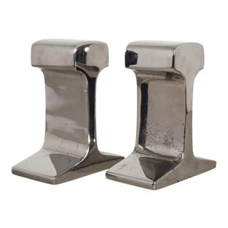Mid-Century Chromed Steel Railroad Tie Bookends C.1960 For Sale