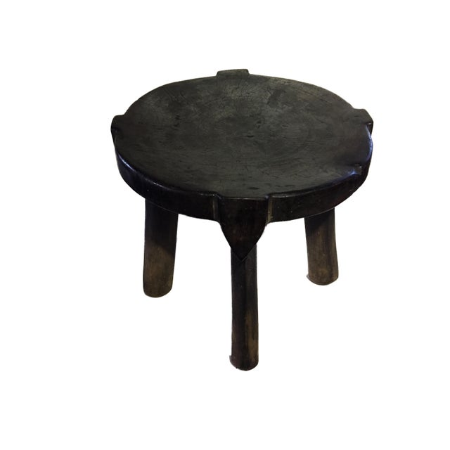 """African African Old Carved Wood Milk Stool Hehe Gogo People Tanzania 10.25"""" H For Sale - Image 3 of 12"""