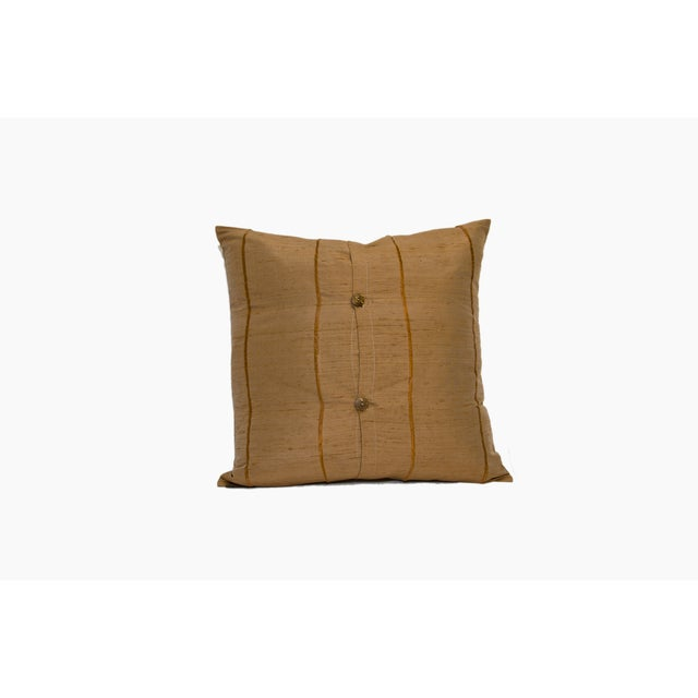 Mocha Striped Raw Silk Square Pillow Cover - Image 3 of 4