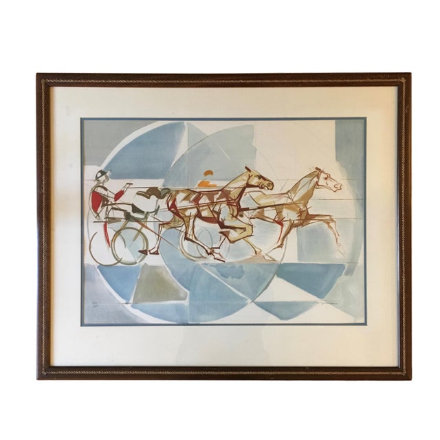 """Blue 1960s Vintage """"The Race"""" French Cubist Lithograph by Jacques Ceria Despierre For Sale - Image 8 of 8"""