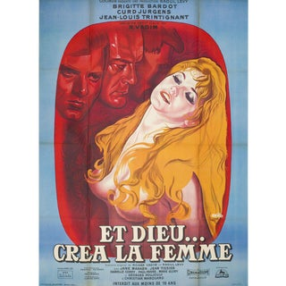 And God Created Woman R1964 French Grande Film Poster For Sale