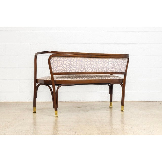Early 20th Century Antique Vienna Secessionist Gustav Siegel 715 for Kohn Loveseat Bench For Sale - Image 5 of 11