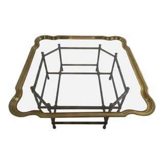 Baker Hollywood Regency Faux Bamboo, Brass and Glass Cocktail Table For Sale