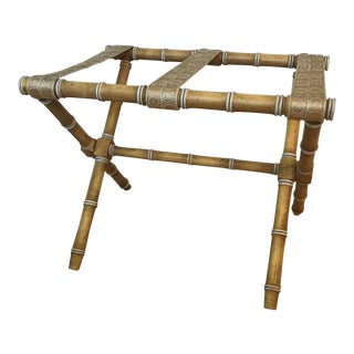 1970s Vintage Chippendale Dorthy Draper Style Faux Bamboo Luggage Rack For Sale