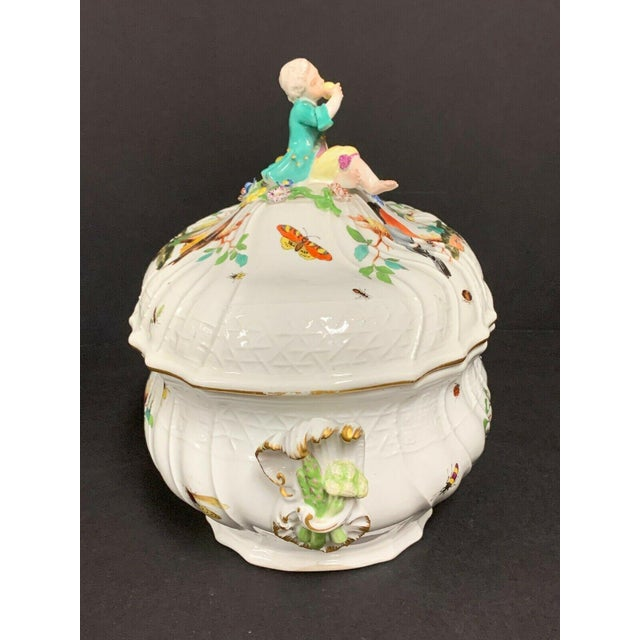 Ceramic Antique 1750 Meissen Porcelain Tureen with Birds, Insects, Flowers and Boy Finial For Sale - Image 7 of 13