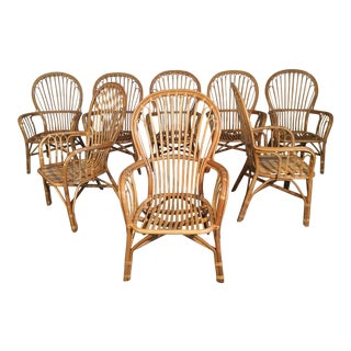 Set of Eight Rattan Fan Back Dining Chairs For Sale