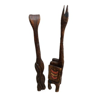 Witco Carved Wood Cat & Llama Tiki Magazine Rack Sculptures - a Pair For Sale