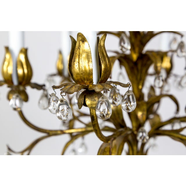 Palm Beach Style Gilt Leaves and Grape Crystal Chandelier For Sale In San Francisco - Image 6 of 13