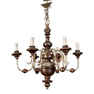 Italian Silver Leaf Wood and Iron Six-Arm Chandelier For Sale