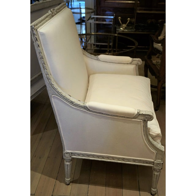 Mid 19th Century Pair of Marquis 19th C Louis XVI Bergeres For Sale - Image 5 of 12