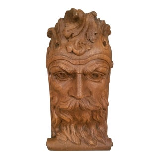 1970s Vintage Wooden Nickel Faux Bois Mythical Man Wall Corbel Shelf For Sale