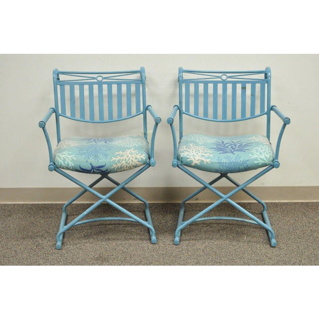 Pair of Vintage Hollywood Regency X Form Blue Iron Curule Directors Arm Chairs B - Image 2 of 11