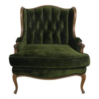Louis XV Style Tufted Green Velvet Bergere C. 1940's For Sale