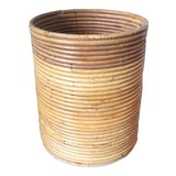 Image of Crespi Style Mid-Century Pencil Reed Bamboo Basket For Sale