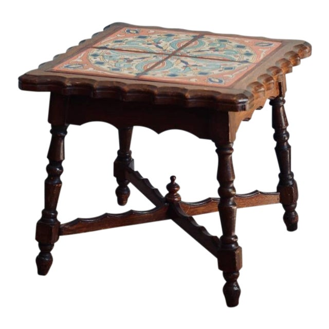 Intact Catalina Tile and Oak Side Table For Sale