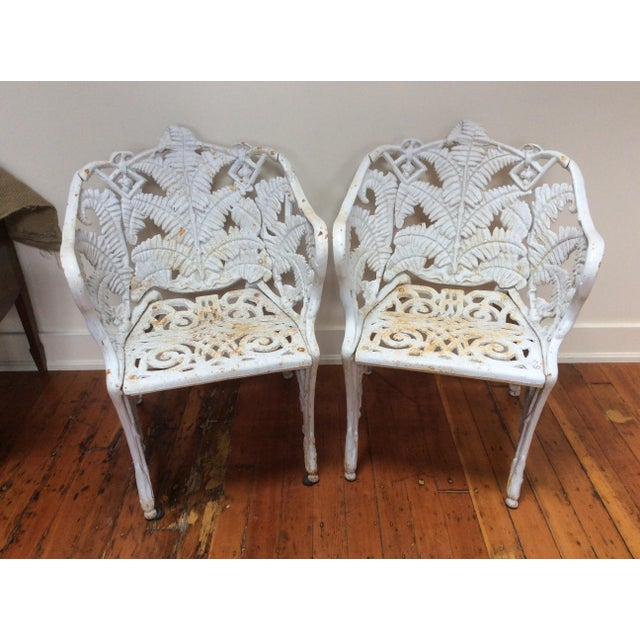 Iron Victorian Iron Fern Garden Chairs - A Pair For Sale - Image 7 of 9