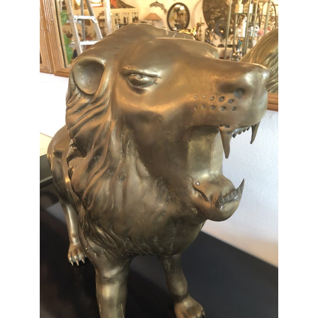 Figurative Vintage Brass Lion Statue For Sale - Image 3 of 9