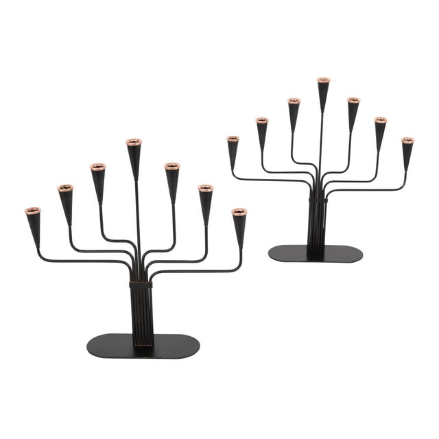 Pair of Gunnar Andersen for Ystad-Metall Candelabrum Circa 1960s For Sale - Image 10 of 10