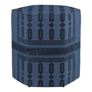 Hexagonal Ottoman in Azul Doro For Sale