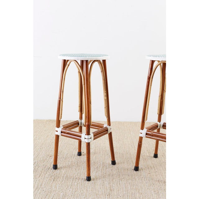 Set of Three Maison Gatti Rattan French Bistro Barstools For Sale - Image 9 of 13