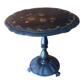 Antique Papier Mache Tilt Top Table With Mother of Pearl Inlays 1800s For Sale