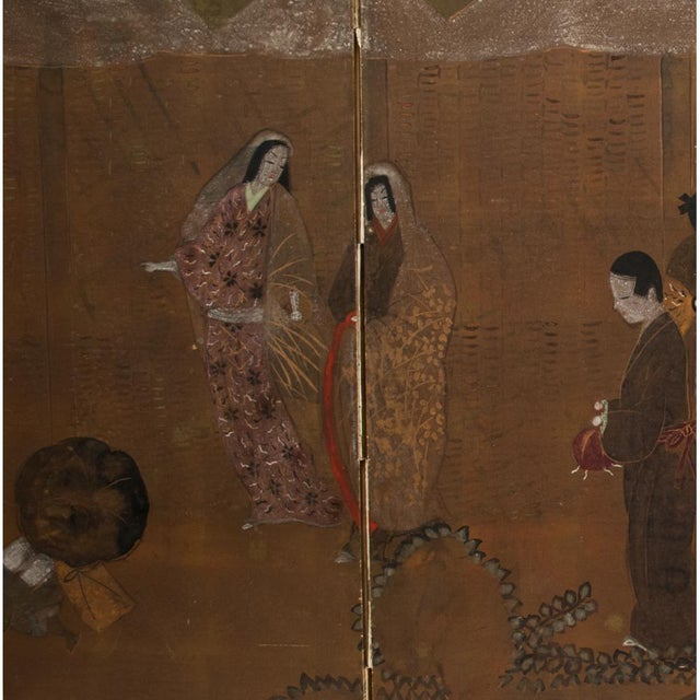 C. 1920s Japanese Market Scene Gold Leaf Byobu Screen For Sale - Image 4 of 13