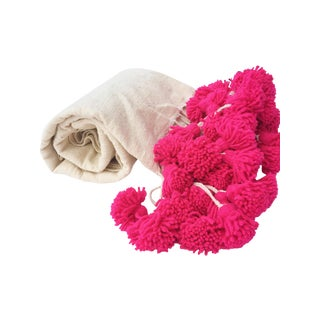 Moroccan Pink Braided PomPom Blanket
