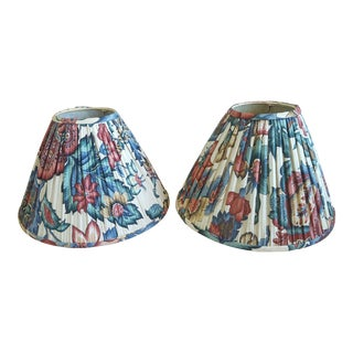 Vintage Schumacher Custom Pleated Patterned Lampshades - a Pair For Sale