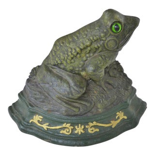Vintage Cast Iron Frog Doorstop by Wright Studios For Sale
