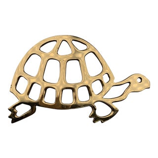 1970s Brass Turtle Trivet For Sale