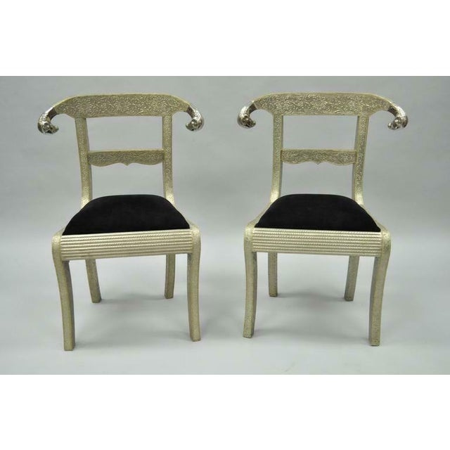 Vintage Mid Century Metal Wrapped Anglo Indian Regency Style Dowry Wedding Chairs For Sale - Image 10 of 10