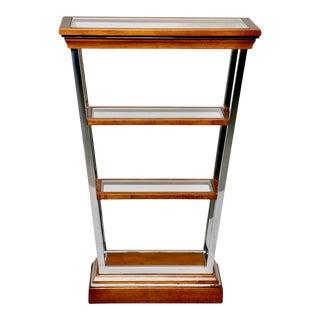 Brazilian Mid Century Teak and Chrome Three Shelf Étagère For Sale