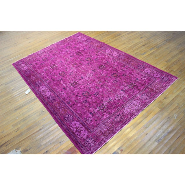 Hot Pink Overdyed Hand Woven Rug - 6′10″ × 10′1″ - Image 2 of 7