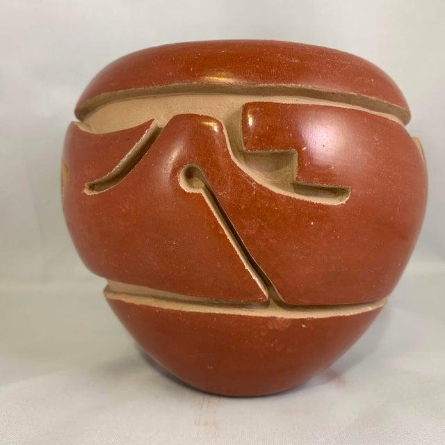 Clay Southwest Mida Tafoya Redware Jar With Carved Avanyu Design For Sale - Image 7 of 13