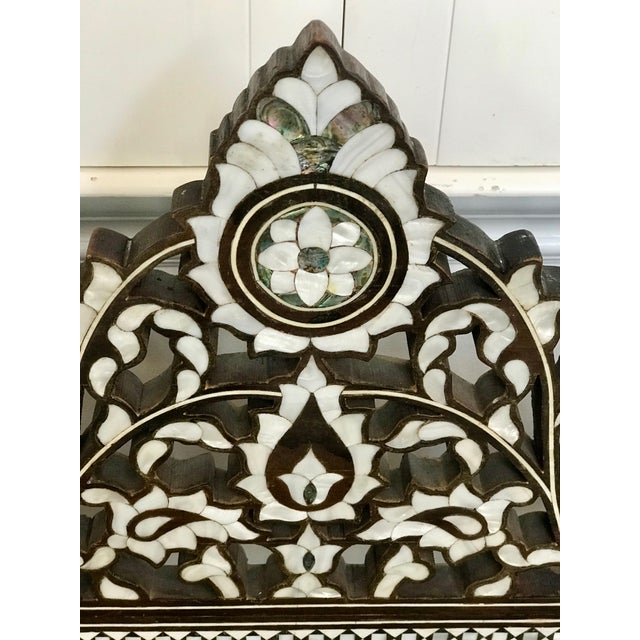 Boho Chic Antique Moroccan Bench With Inlaid Mother of Pearl and Abalone For Sale - Image 3 of 13