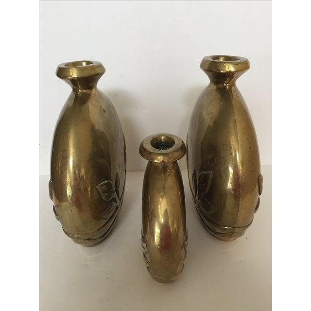 VintageTrio of Heavy Brass Vases - Image 5 of 7
