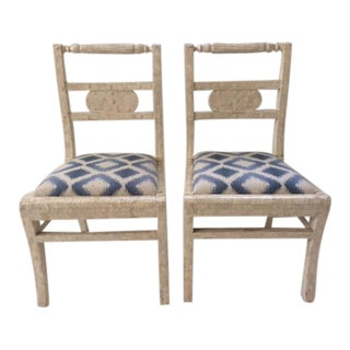 Vintage Tessellated Bone Side Chairs - A Pair