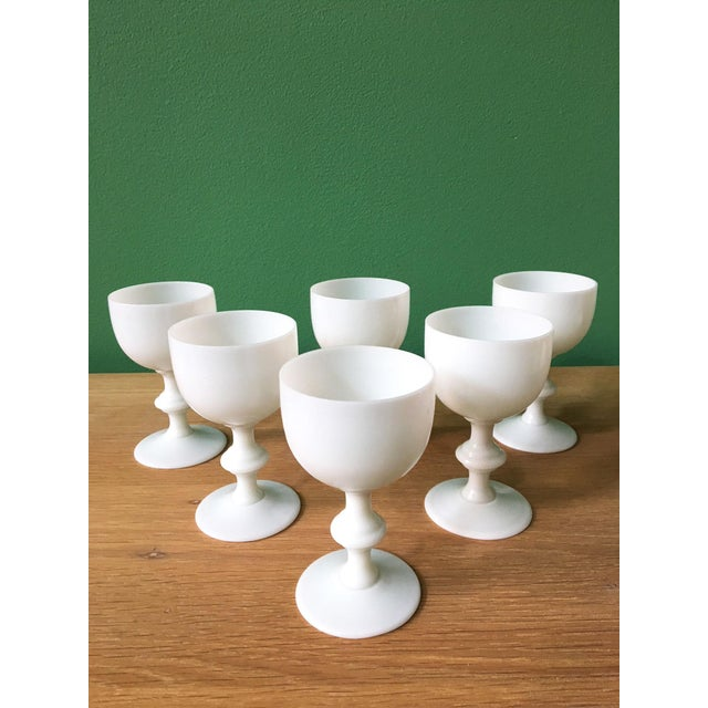Set of six white milk glass wine glasses by French Portieux Vallerysthal.