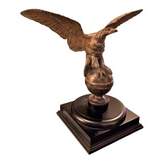 Brass Eagle Flag Pole Topper on Stand, United States, Circa 1900 For Sale