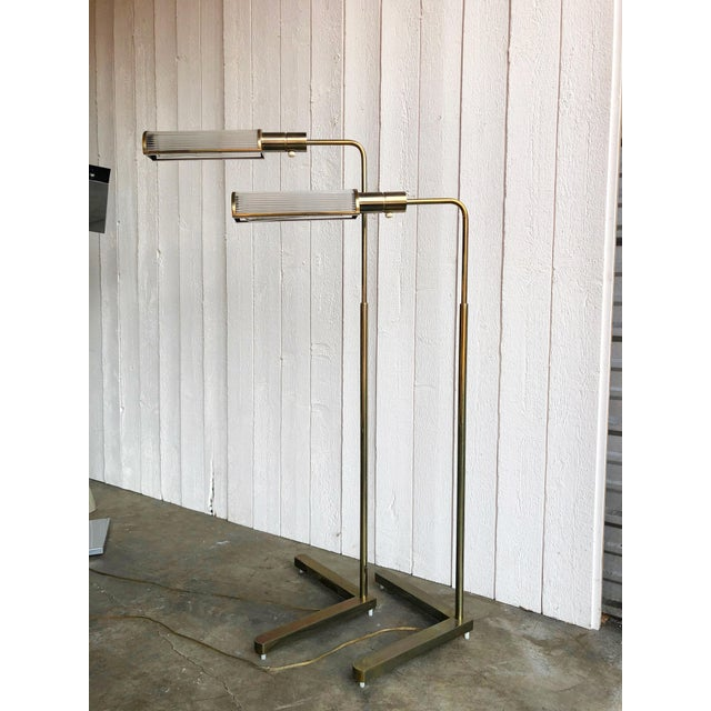 Casella Adjustable Brass Pharmacy Floor Lamps - a Pair For Sale In Portland, OR - Image 6 of 10