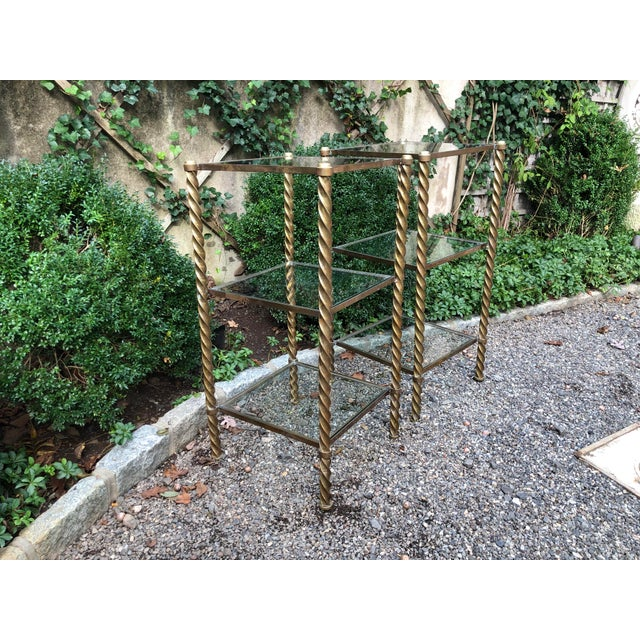 Metal 1970's Mid-Century Modern Brass and Glass Etageres-a Pair For Sale - Image 7 of 11