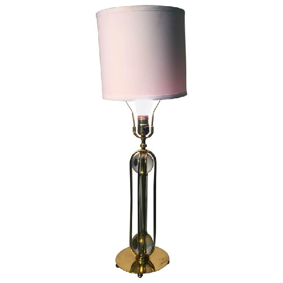 Luxury Beautiful Brass Table Lamp With Glass Ball And Cage Design