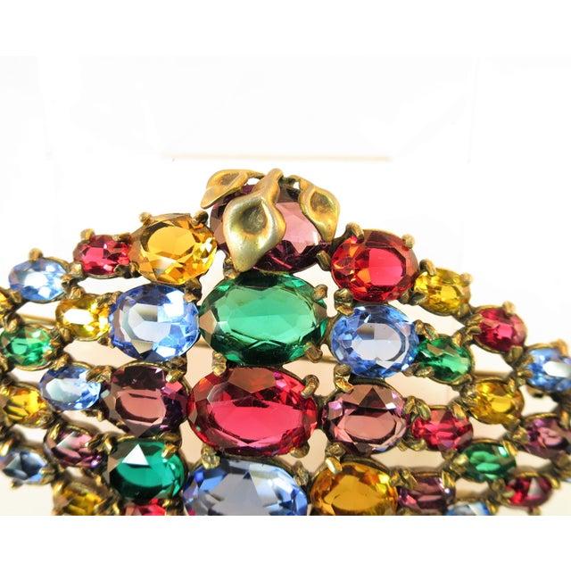 1920s Czech Art Deco Jewel-Tone Bohemian Crystal Brooch 1920s For Sale - Image 5 of 12