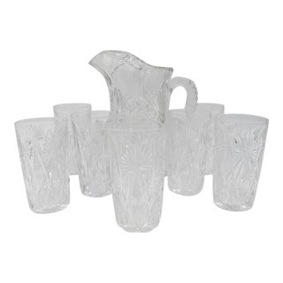 American Brilliant Period Hawkes Cut Glass Lemonade Pitcher and Tumblers - Set of 8 For Sale