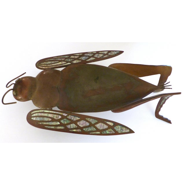 Offered for sale is a brass, copper and abalone dish in the form of a whimsical grasshopper. Unmarked but attributed to...