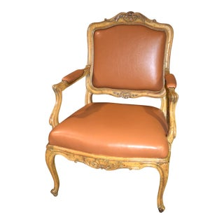 1970s Vintage Carved Tuscan Style Accent Chair For Sale