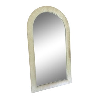 1970s Vintage Velour Upholstered Arc Mirror For Sale