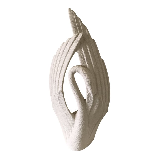 Mid Century Modern Art Deco Haeger Pottery Large Swan Statue For Sale