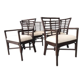 Hollywood Regency Rattan Dining Chairs - Set of 6 For Sale